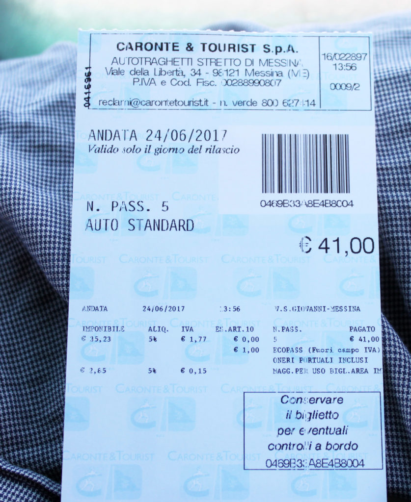 Färjebiljetten Messinasundet