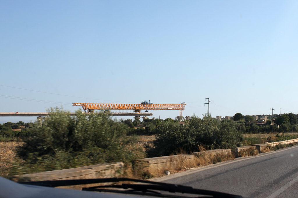 Motorvägsbygge vid Rosolini