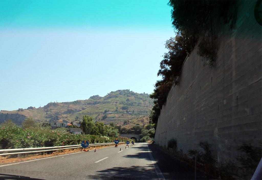 Vägarbete på Sicilien